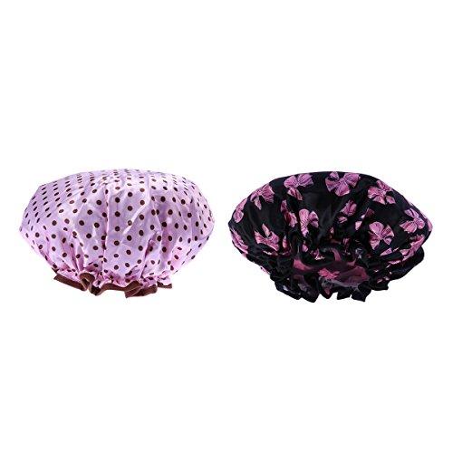 Frcolor Chapeau imperméable à l'eau de la douche pour les femmes, Pack de 2 (noir et rose)
