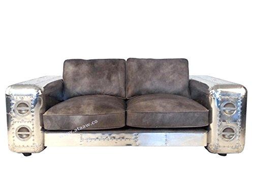 Ashoka modernes Aviator-Sofa mit braunem Leder