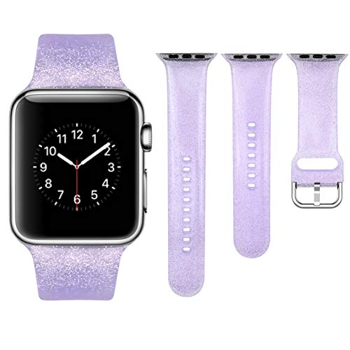 Vozehui - Juego de 3 correas compatibles con iWatch Series 6/5/4/3/2/1, para mujer, silicona suave, transparente, con purpurina, correa de repuesto para Apple Watch de 38 mm y 40 mm