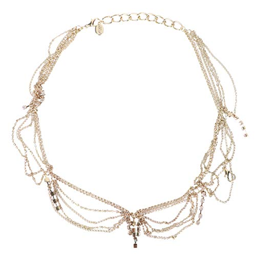 Lurrose Kristall Kopf Kette Stirnband Kopf Kette Schmuck mit Anhänger Haarschmuck für Frauen und Mädchen (Golden)