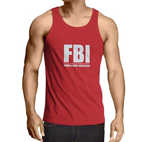 lepni.me Camisetas de Tirantes para Hombre FBI - Inspector del Cuerpo Femenino - Regalos Divertidos para Hombres, Citas humorísticas