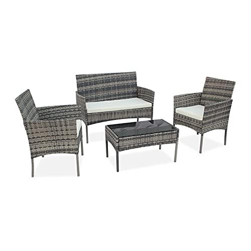 lemeibaihuo Zis Muebles de ratán para exteriores de salón, balcón, patio, ocio, 4 piezas, incluye 1 grande, 2 pequeños 3 sofás y 1 mesa de té (color gris)