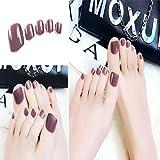 Sethexy couleur unie brillant ongles faux-pieds brillant mode carré courte couverture complète 24PCS faux orteils pour les femmes et les filles (Brown)