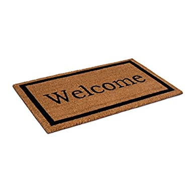 BirdRock Home Welcome Coir Doormat | 18 x 30 Inch | Standard Welcome Mat with Black Border and Natural Fade | Vinyl Backed | Outdoor