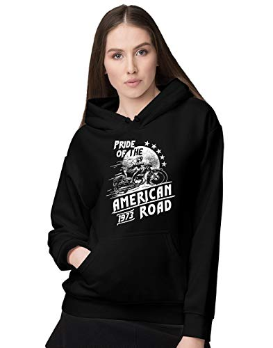 BLAK TEE Femme Pride of The American Road Cafe Style Racer Sweat a Capuche S
