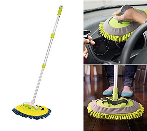 JGHGO 3-in-1 Wash Mop Mitt 180° Rotation, Retractable Rotating Car Washing Brush Cleaning Mop, Windshield Cleaner Wand Microfiber Car Inside Window Cleaning Tool