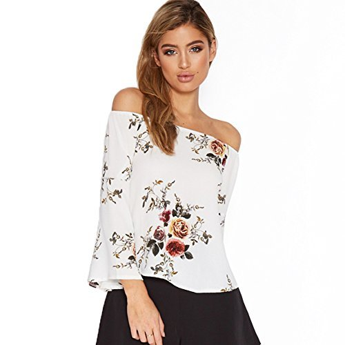 Sweetichic Women's Casual Floral Off the Shoulder Bell Sleeve Chiffon Blouse Shirt Tops (M, White)