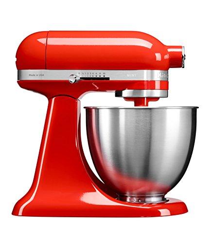 Kitchenaid 5KSM3311XEHT Mini robot pâtissier multifonction de 3,3 L - Rouge Piment, 250 W, Paprika
