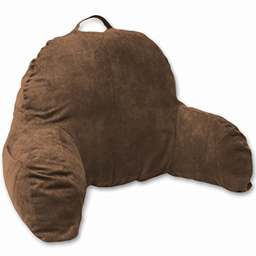 Deluxe Comfort Microsuede Bedrest – Reading and Bed Rest Lounger – Sitting Support Pillow – Soft But Well Stuffed Fiberfill – Backrest Pillow With Arms, Brown