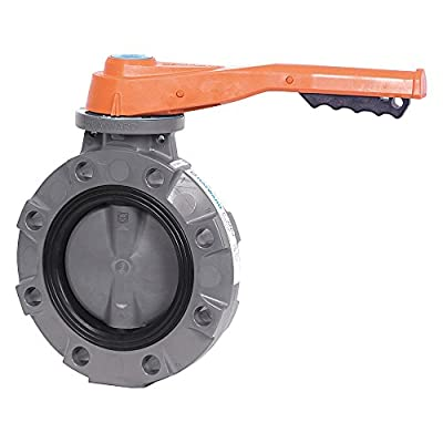 "Hayward BYV11040A0VL000 Series BYV Butterfly Valve, Lever Operated, PVC Body, PVC Disc, VITON and FPM Seals, 4"" Size from Hayward Industries"