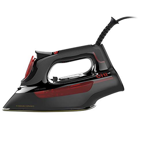 CHI Lightweight Professional Grade Steam Iron with Electronic Temperature Control, Titanium Infused Ceramic Soleplate, 1700 Watts, XL 10' Cord, Black (13117)