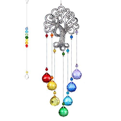 H&D HYALINE & DORA Crystal Glass Suncatcher Chakra Colors Ball Prism Tree of Life Window Hanging Ornament Rainbow Suncatcher