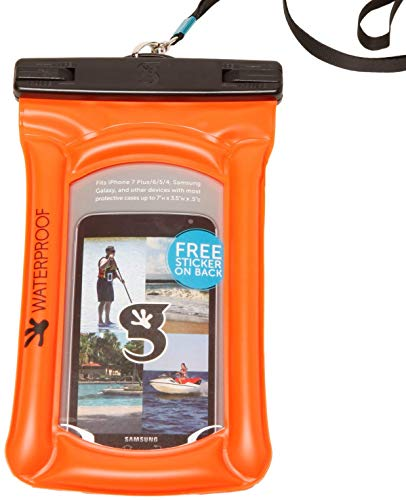 geckobrands Float Phone Dry Bag - Waterproof & Floating Phone Pouch – Fits Most iPhone and Samsung Galaxy Models, Neon Orange