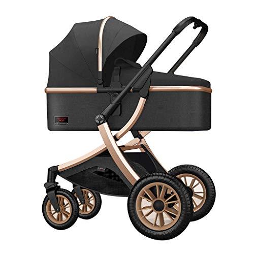 Cochecito de bebé, cochecito plegable compacto ajustable, con cesta de almacenamiento, carro recostado desde el nacimiento hasta 25 kg, cubierta de pie estéreo acolchado, almohadilla de algodón térmic
