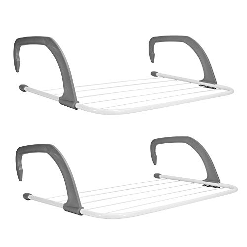 Set of 2 Radiator Clothes Airers | Compact Clothing Drying Rack | Iron White & Grey Laundry Drying Rails | Radiators Clothes Hanger | Towel Storage | M&W