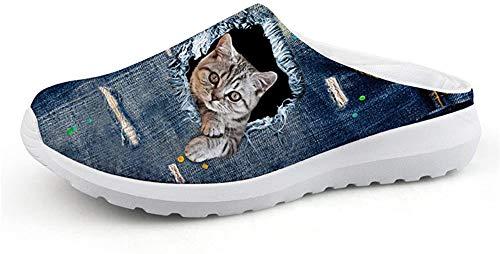 Nopersonality Winter Slip-on Clogs Hausschuhe Atmungsaktiv Mesh Pantoletten Outdoor rutschfest Sandalen Herren Damen Schuhe Katze, Blau 39 EU