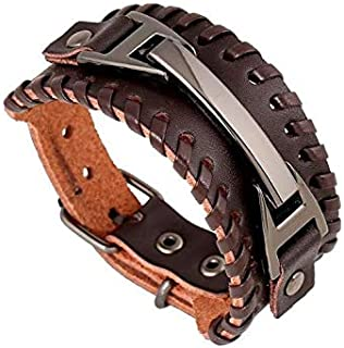 Vintage Men Bracelets Bangles Punk Handmade Wide Cuff Leather Bracelet Woven Wristband Bangles For Men Jewelry