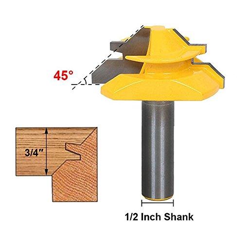 Meihejia 1/2 Inch Shank 45 Degree Lock Miter Router Bit 3/4 Inch Stock Joint Router Bit Woodworking CutterTool