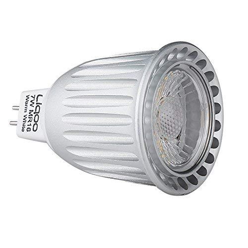 Liqoo 4x 7W MR16 LED COB Lampadina (Bianca Calda 3000K, 60°, 630lm, 12V) Lampadine a risparmio energetico [Classe di efficienza energetica A+]