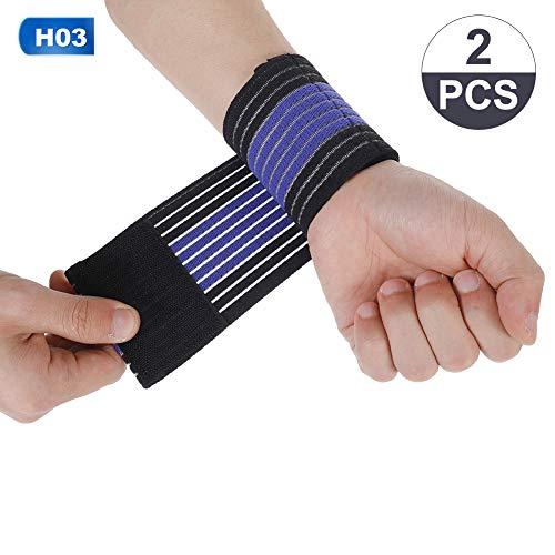 Veraing Elastische Handgelenk-Bandage für Damen und Herren(Schwarz blau)