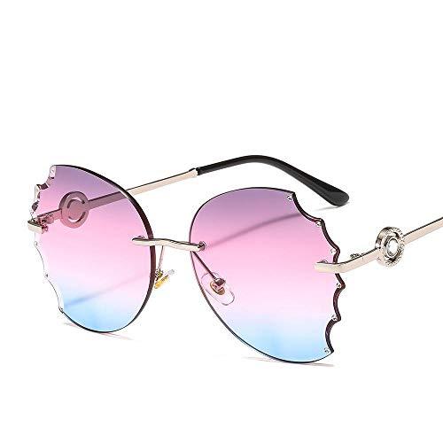 HZFZ Gafas De Sol Sin Marco Gafas De Sol De Moda Para Mujer Con Bordes Cortados Y Diamantes