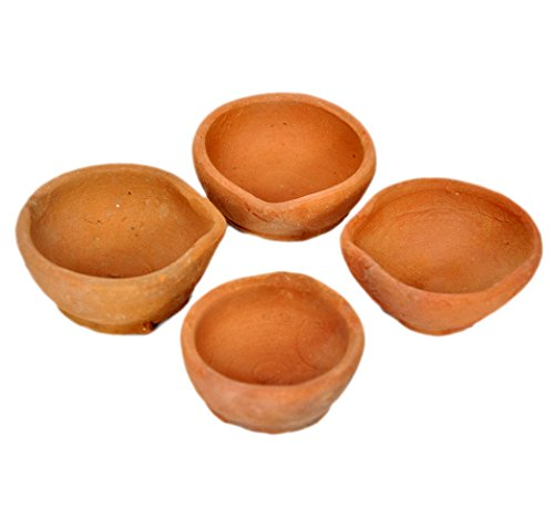 Hashcart Handgefertigte indische traditionelle Pooja-Öllampe aus Ton / Terrakotta – Diya Lampe