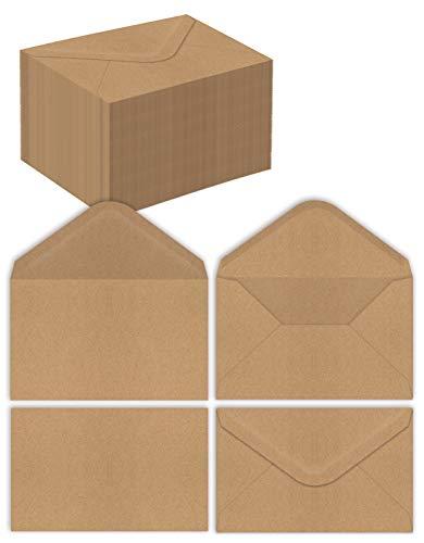 Kraft Mini sobres, paquete de 100 unidades, papel fuerte de 30 libras, solapa puntiaguda, uso con tarjetas de regalo, efectivo, tarjetas RSVP, tarjetas de visita, se adapta a hasta...