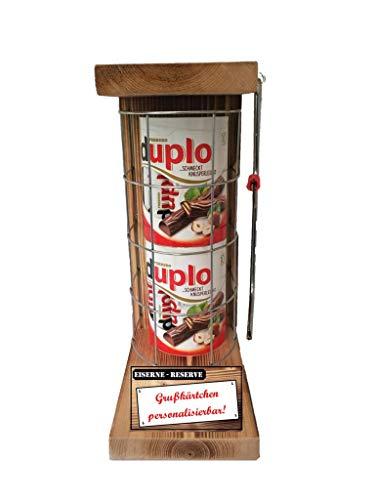 """"""" Personalisierbar """" - duplo Riegel - Eiserne Reserve Befüllung mit Süßigkeiten """" 20 Riegel duplo """" - incl. Säge zum zersägen des Gitter - Geschenk für Männer und Frauen"""