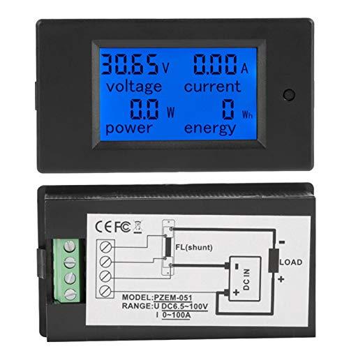 Misuratore Di Corrente Di Tensione,Tensione, Corrente,Potenza Attiva,Energia Rilevatore Di Tensione 6.5-100 V CC Digitale LCD Visualizza (50A)