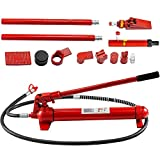 Mophorn 12 Ton Porta Power Kit 2M Oil Hose Hydraulic Car Jack Ram 5.3 inch Lifting Height Autobody Frame Repair Power Tools for Loadhandler Truck Bed Unloader Farm and Hydraulic Equipment Construction