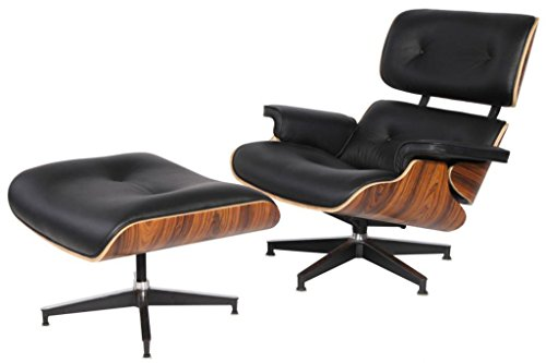 Mid Century Plywood Lounge Chair & Ottoman Eames Style Replica Real Premium Aniline Leather (Black/Palisander)