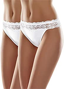 Merry Style Bragas Slip Bóxer Ropa Interior Mujer MSGAB24 (Blanco (2Pack), 40 (Talla del Productor: L))