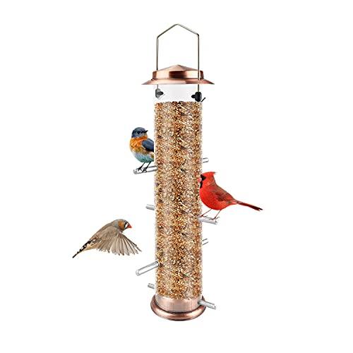 MIXXIDEA Finch Bird Feeder Hanging Metal Thistle Seed Tube Feeder with 8 Feeding Ports Nyger Feeder for Outdoors Garden Copper