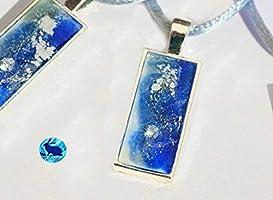 Collar corto de mujer con circonita, colgante color azul y plata hecho a mano en resina. Regalo perfecto Handmade collar...