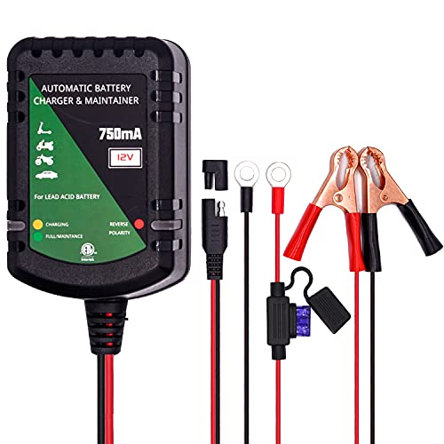12V Batterieladegerät Blei Säure Batterie AGM Gel 0,75A Automatischer Batteriewächter Erhaltungsladegerät für Auto Auto Motorrad Rasenmäher Boot Schneemobil