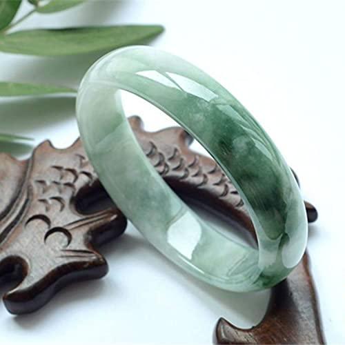 KNWSHT Pulsera de Jade Piedra de la Sabiduría Salud Energía Curativa 12-13 mm Ancho para Regalo Joyería de Piedras Preciosas de Jade Myanmar