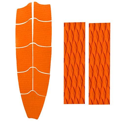 P Prettyia 9 Piezas Agarre de Plataforma de Tracción Completa de EVA con 2 Almohadillas de Cola, Accesorio de Tablas de Surf - Naranja, Tal como se Describe
