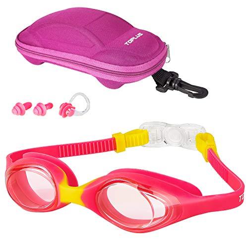 TOPLUS Schwimmbrille Schwimmmaske Kinderbrille, Schutzbrille Kinderschwimmbrille Antibeschlag Auslaufsichere Kinderbrille zum Schwimmen - Unisex Jugend Swimming Goggles mit Tragbare Tasche PINK