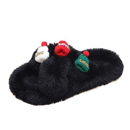 XZDNYDHGX Wolle Hausschuhe Stricken Künstliche,Weihnachtsmütze weiblich warme Wohnungen Slides Home Kunstpelz, warme Bequeme Frauen Wohnungen Slidesblack EU 39