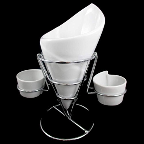 unbrand 4 Piece Set Ceramic French Fries Chip Dip Sauce Serving Dish Bowl Server Cup New