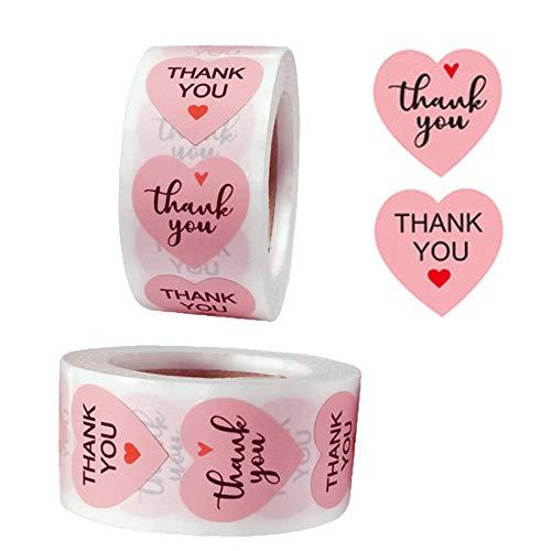 1000 Pz Adhesivo de Agradecimiento Pegatinas Etiquetas Gracias Pegatinas de Thank You Etiqueta de Agradecimiento 500 Etiquetas por Rollo para Embalaje Tarjetas Felicitación Sobres Sellados