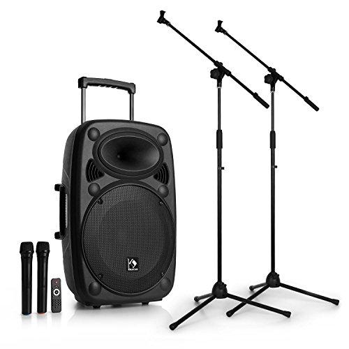 auna Streetstar 15 PA-Anlage Set mobile PA Lautsprecher Box (40 W RMS - Subwoofer, Hochtöner, Bluetooth, USB/SD-Port, UKW Radio, AUX, 2 x UHF-Funk-Mikrofon mit Mikrofon-Stativ) schwarz