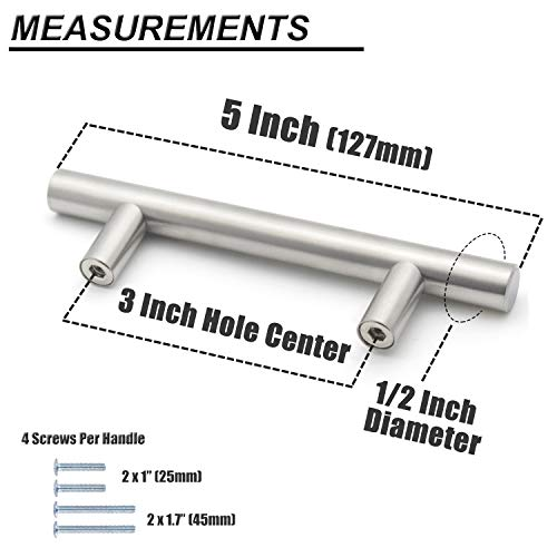 (30 Pack) Probrico 3 Inch Hole Centers Euro T Bar Cabinet Pulls Stainless Steel Kitchen Drawer Handles Satin Nickel Furniture Dresser Cabinet Hardware, 5 Inch Total Length