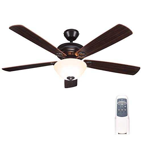 52 Inch Indoor Oil-Rubbed Bronze Ceiling Fan With Light Kits and Remote Control, Classic Style, Lifetime Motor Warranty, Reversible Blades, ETL for Living room, Bedroom, Basement