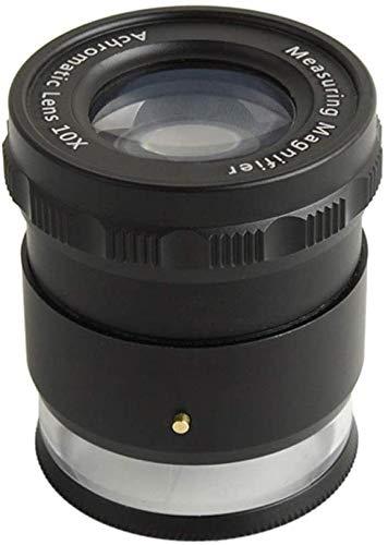 Wxxdlooa 10 keer cilinder instelbaar met LED-lichtscala loep / microscoop meting Zie druk 50 * 45 mm dwarsschaal / complete schaal twee optionele weegschalen