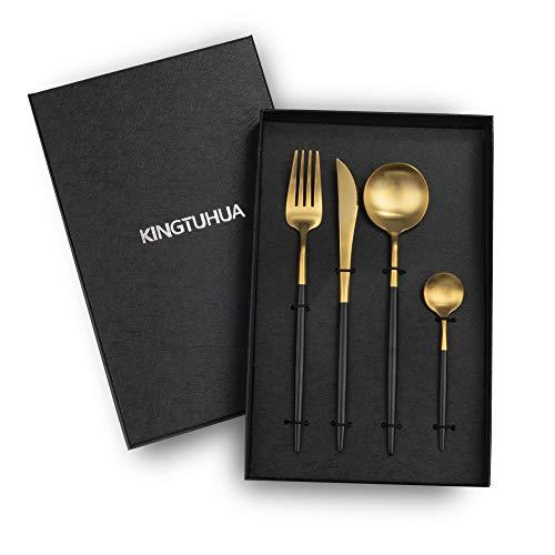 KINGTUHUA Besteck Set aus Edelstahl,4-teiliges Essbesteck als Geschenkbox inkl. Messer/Gabeln/Löffel/Kaffeelöffel (schwarzes Gold)