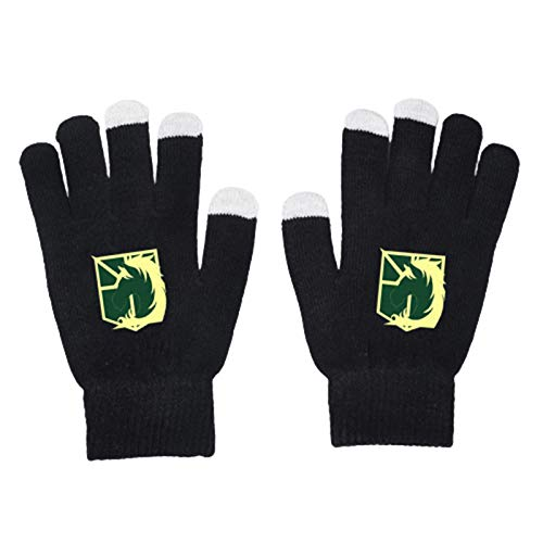 CREPUSCOLO Anime Attack on Titan Unisex Cosplay High Stretch Gloves Black Can Study to Work Sports Outdoor All Finger Gloves Touch Screen Cotton Gloves(Style 10-Touch Screen)