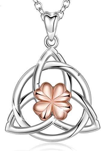Collar para Mujeres Hombres Plata de Ley 925 Triángulo Nudo Celta Colgante Collar Oro Rosa Collar de Trébol Celta Buena Suerte Joyería Fina Collar Longitud 18 Pulgadas Collar Colgante Niñas Niños Rega
