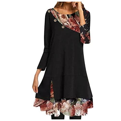 Masrin Damen Minikleid Modisches Skaterkleid mit Blumenmotiv Herbst Langarm Pullover Kleid Kleid in A-Linie mit O-Ausschnitt und Patchwork Party...