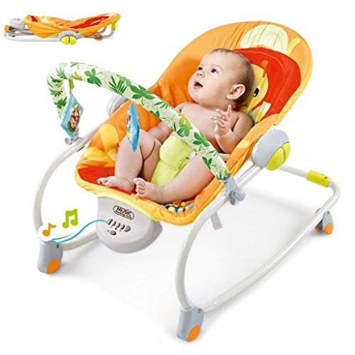 Leadmall Electric Baby Bouncer Collapsible Baby Rocker, Folding Baby Swing Cradle with Music, Soothes Vibration for New-Born to Toddler Outdoor Sport (3 Modes)
